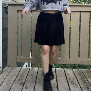 Ecoté Black Velvet Skater Skirt